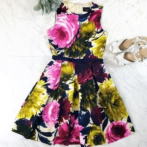 Just Taylor Floral Fit and Flare Sleeveless Dress